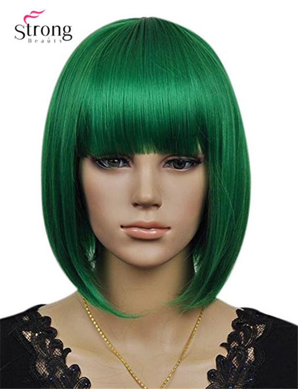 Women`s Cosplay Party Kanekalon Synthetic Fiber Short Straight Dark Green Bob Hair Full Wigs