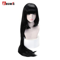 AOSIWIG Black Long Straight Wigs Halloween Costumes Party Synthetic Hair High Temperature Fiber Cosplay Wigs