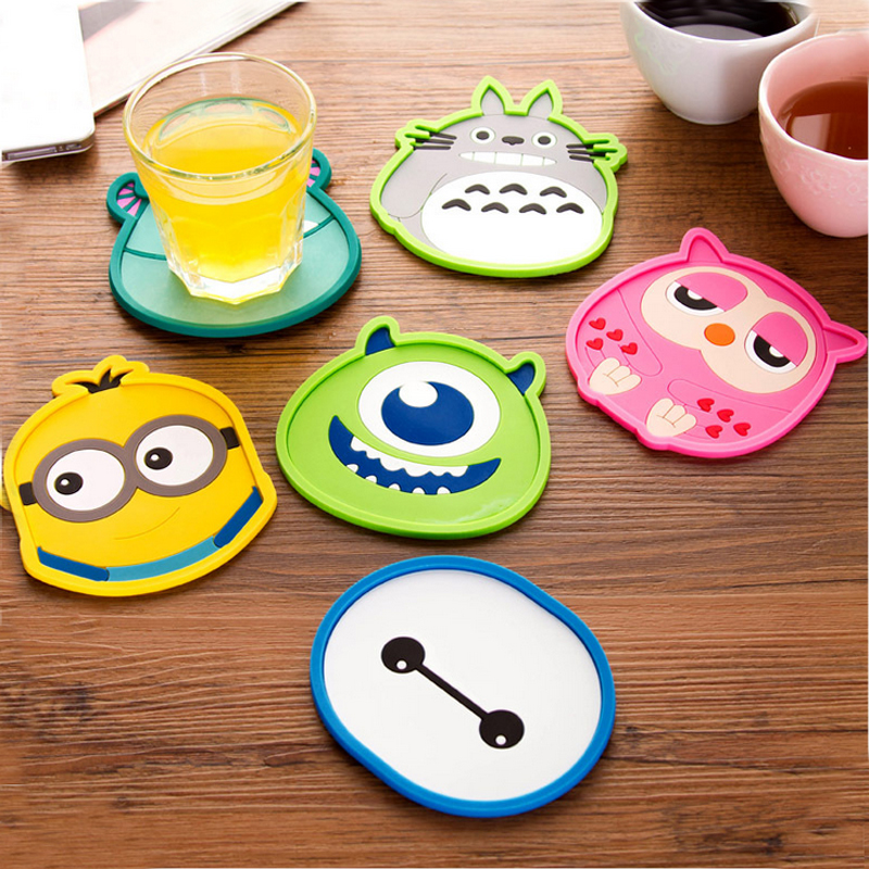 1pcs Cute Anime Silicone Coffee Placemat Cartoon Drink Coaster Cup Glass Beverage Holder Pad Mat