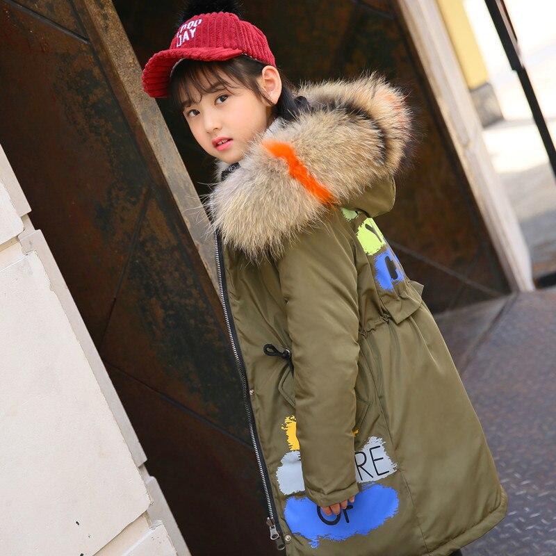 2 sides Winter Down Jackets Big True Fur Collar Fashion Print Long Coat for Teenage Girls Kids Outerwear age 10 12 14 стоимость