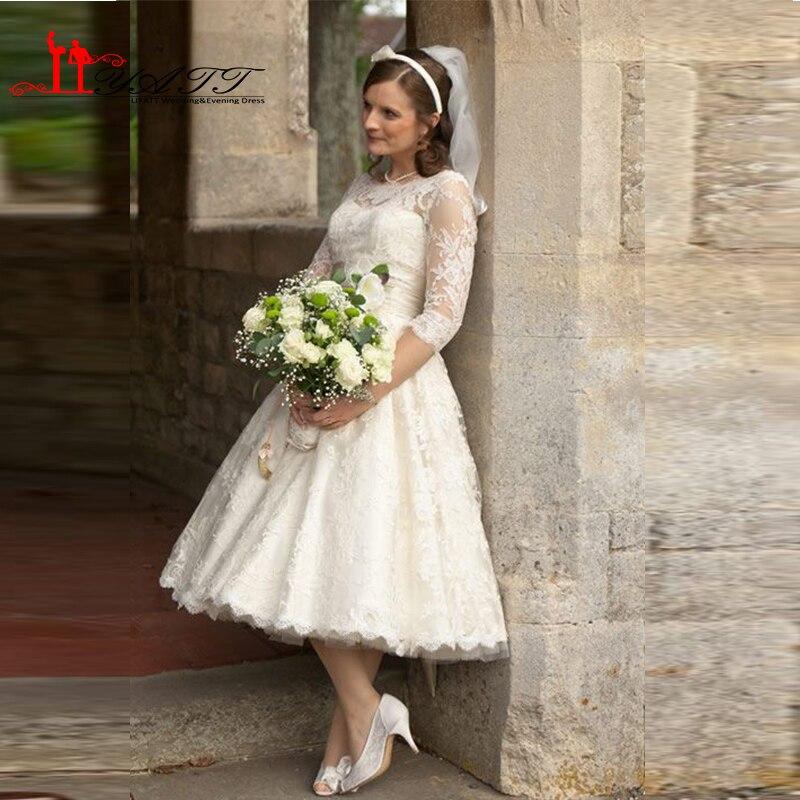 68c0a2dd1ad 50s 60s vintage lace half short wedding dresses with sash bow jewel tea  length cheap bride
