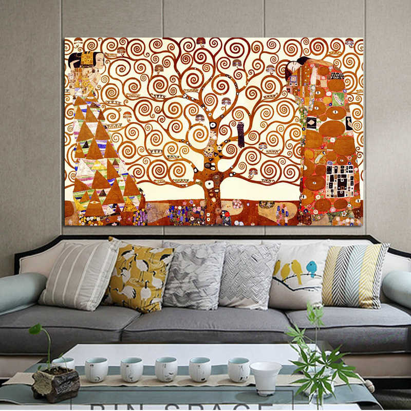 Classical Famous Painting Wall Art Posters and Prints on Canvas Painting The Tree of Life by Gustav Klimt for Living Room Decor