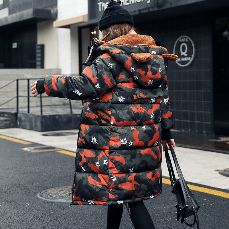 Winter medium-long 2017 wadded jacket female Camouflage plus size loose cotton-padded jacket thickening thermal cotton-padded linenall women s parkas cotton and linen medium long wadded jacket outerwear female plus size vintage cotton padded jacket ym