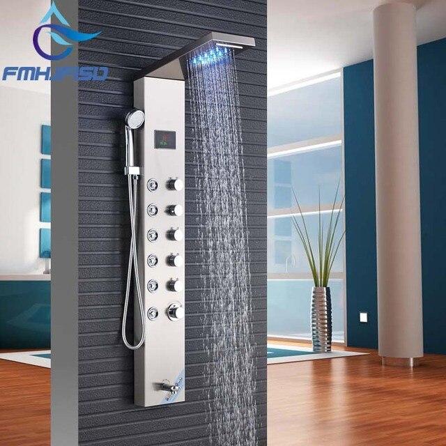 frderung hohe qualitt nickel gebrstet dusche wasserhahn mit wasserfall led licht duschpaneele spalten - Dusche Led Licht