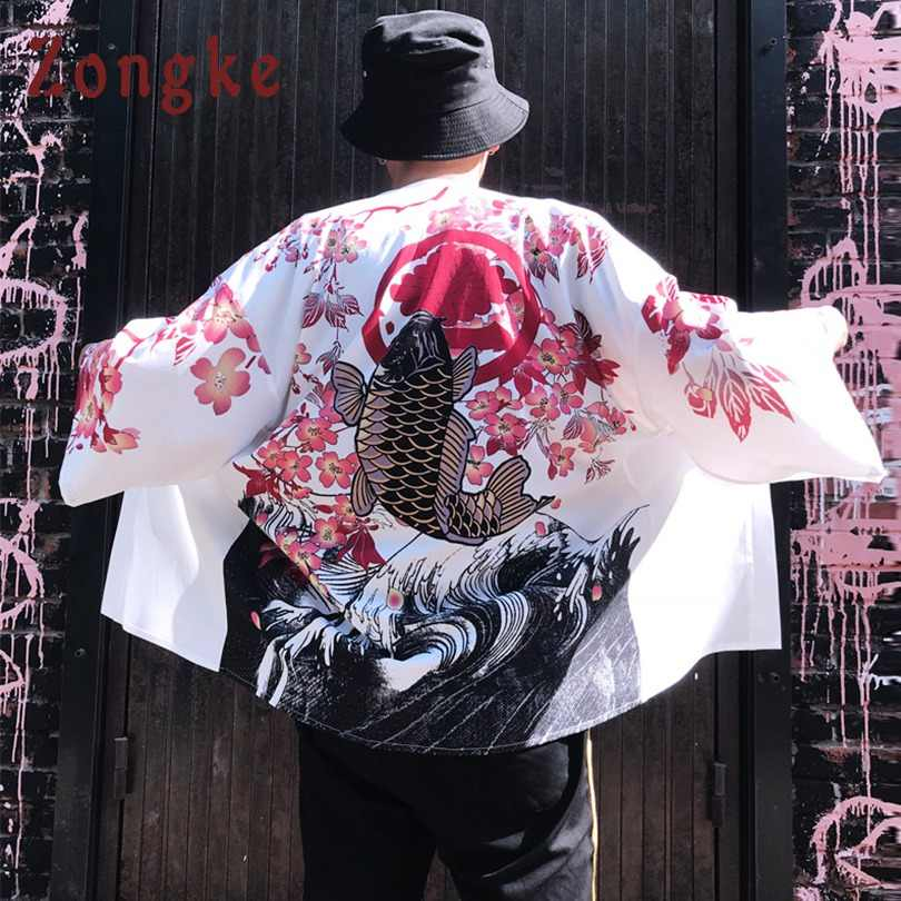 Zongke Floral Kimono Strickjacke Männer Lange Karpfen und Kirsche Druck Kimono Strickjacke Männer Japanischen Kimono Traditionelle Männer 2018 Sommer Neue