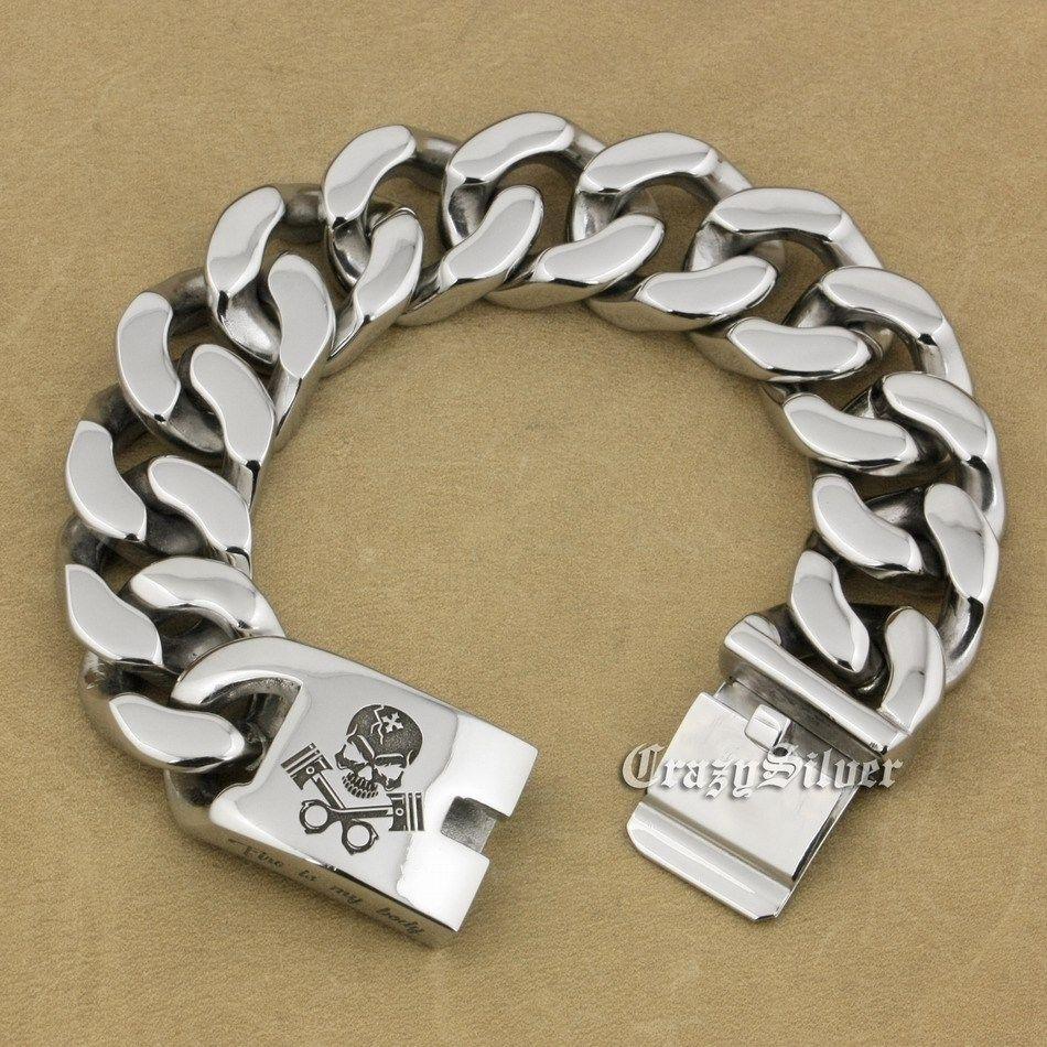 Gravé en profondeur 9 longueurs en acier inoxydable 316L crâne moteur hommes Biker Rocker Punk Bracelet Service de gravure 5D106