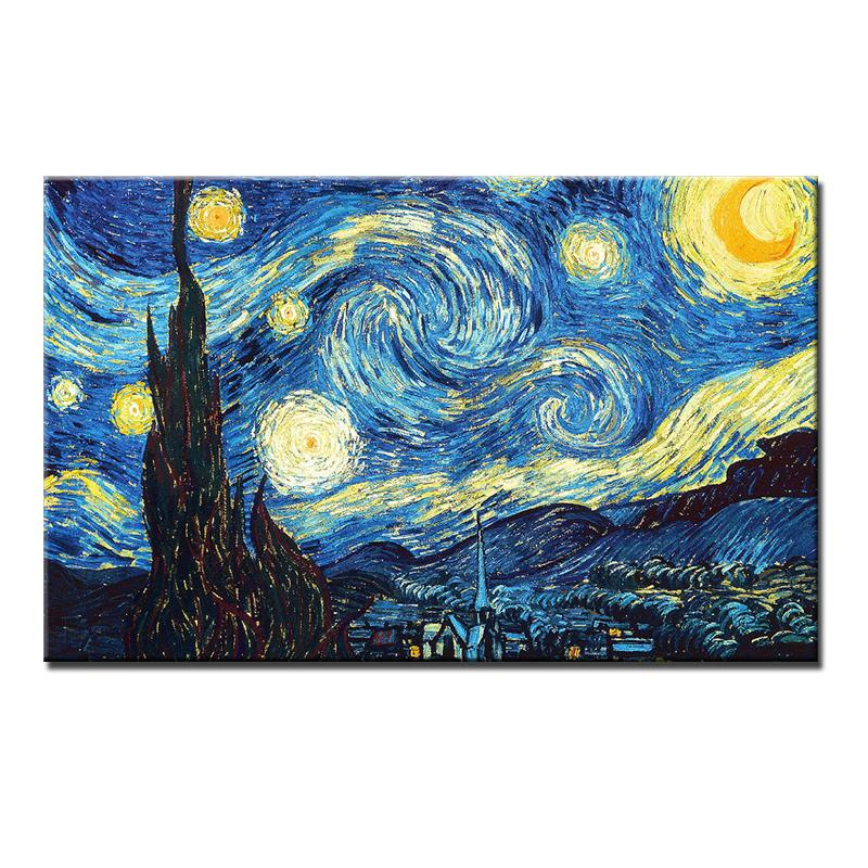 Free Shipping Abstract Van Gogh Oil Painting Reproductions Starry Sky Picture Hand Painted Canvas Paintings Unframed