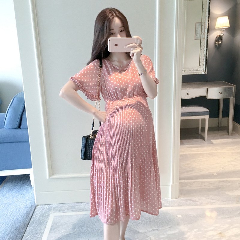 BONJEAN Pregnant Women Midi Pleated Chiffon Dress Pink Polka Dots Summer Pregnancy Clothes Loose Plus Size Maternity Dresses plus frill trim pleated dress