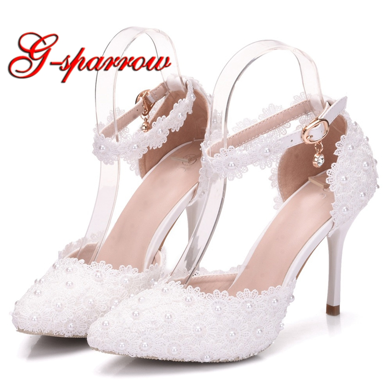White Lace Flower Wedding Shoes with Buckle Straps Pointed Toe Bride Shoes Women Sandals Elegant Bridesmaid Shoes