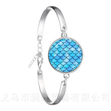 Brilliant Colors Flaky Clouds Pattern 18mm Glass Dome Bracelet DIY Creative Silver Plated Bangle For Women Men Gift(China)