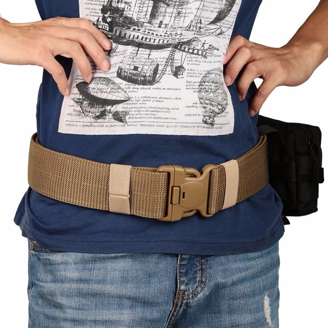 Relefree Tactical Molle Webbing Waist Belt With Buckle Outdoor Hunting Hiking Heavy Duty Waistband for Molle Waist Pouch Bag