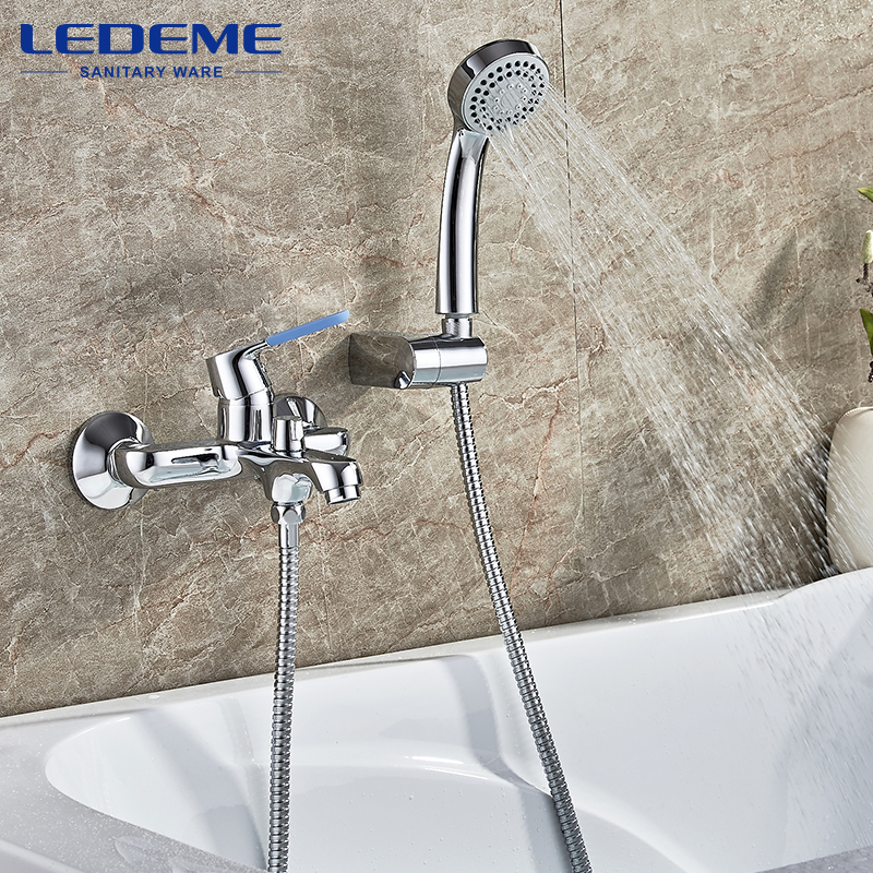 LEDEME Modern Style Shower Bathroom Faucet Chrome Plated Cold and Hot Water Mixer 90 Degree Rotation Bathroom Faucet L3253 chrome plated modern handle c c 192mm l 218mm h 23mm drawers cabinets