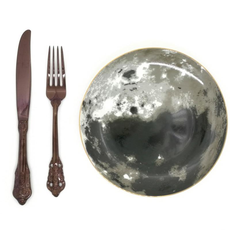 Creative Moon Surface Steak Flat Plate Ceramic 8inch