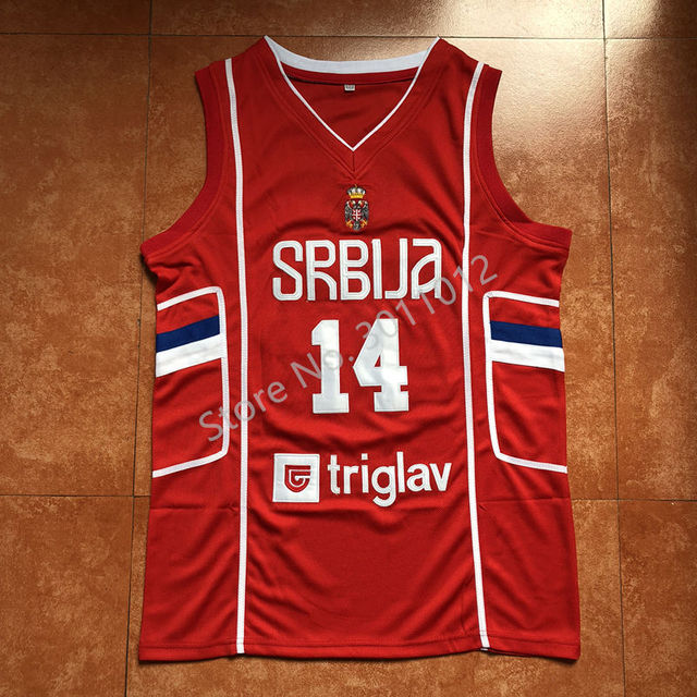 8e0a2aa8a486 2019 New  14 Nikola Jokic Team Serbia Basketball Jersey -in ...