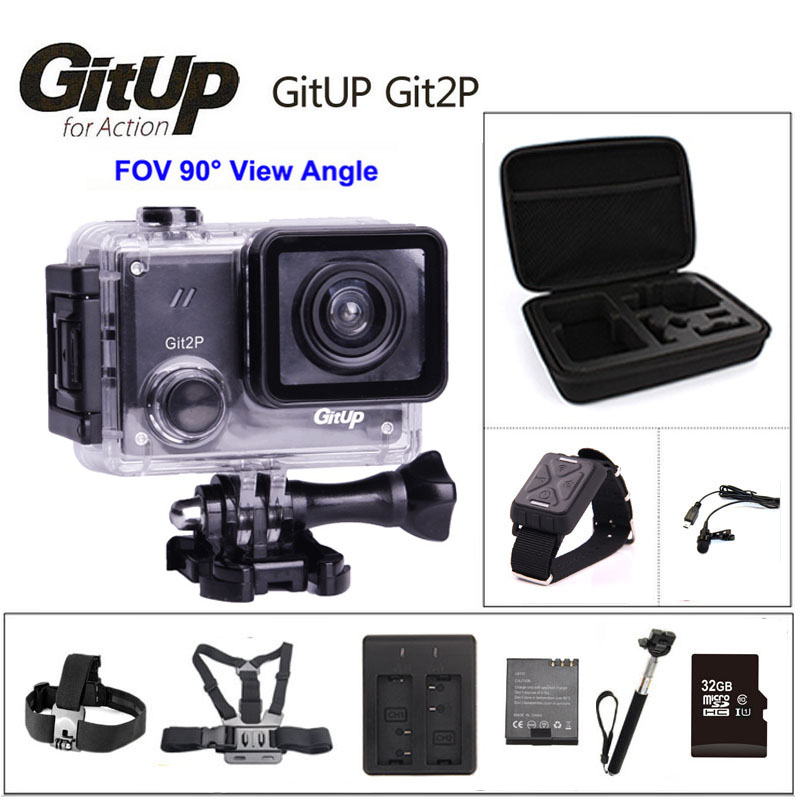 GitUP Git2P 90 Degree Lens Action Camera 2K Wifi Sports DV Full HD 1080P 30m Waterproof mini Camcorder 1.5 inch Novatek 96660 original gitup git2 standard packing 2k wifi sports camera full hd for sony imx206 16mp sensor extra 1pcs battery dual charger