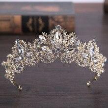 Barroco de Lujo Grande Rhinestone Nupcial Tiaras de la Corona de Oro Claro Cristal Diadema Tiara de Novia Diademas Accesorios Pelo de La Boda