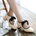AIWEIYi Moda Mujer Zapatos De Color Rosa de Color Beige Cuadrados Zapatos de Tacón Alto Lace up Dulce Plataforma de La Bomba Zapatos de Las Señoras Ocasionales del Tamaño 34-43