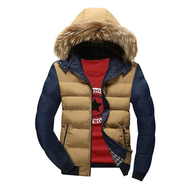 2017 Novos Homens Inverno Quente Grossa Jaqueta Com Capuz Roupas de Marca Plus Size Algodão-Acolchoado Parka Para Baixo Casaco Outwear jaqueta Y1945