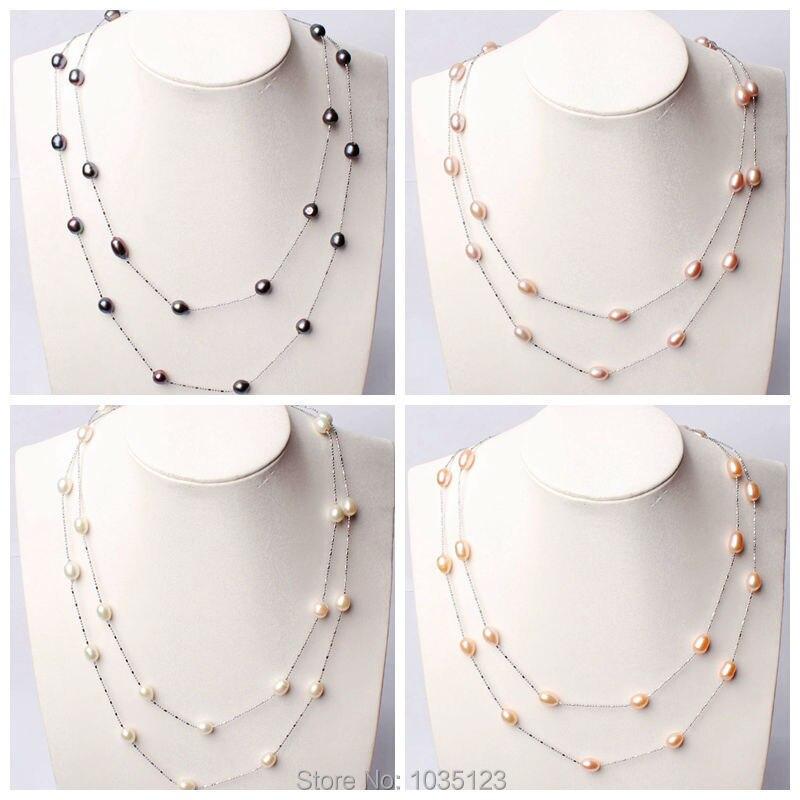 ⓪Envío Gratis pretty 7-8mm natural 4 color perla de agua dulce ...