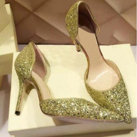 Hot Selling Red Pink Bling Bling Glitter Embellished High Heel Pumps Pointed Toe Cut-out Wedding Dress Shoes Wommen OEM Accept 12 teeth htd5m timing pulley and 48 teeth htd5m timing pulley for belt width 16mm sell by pack