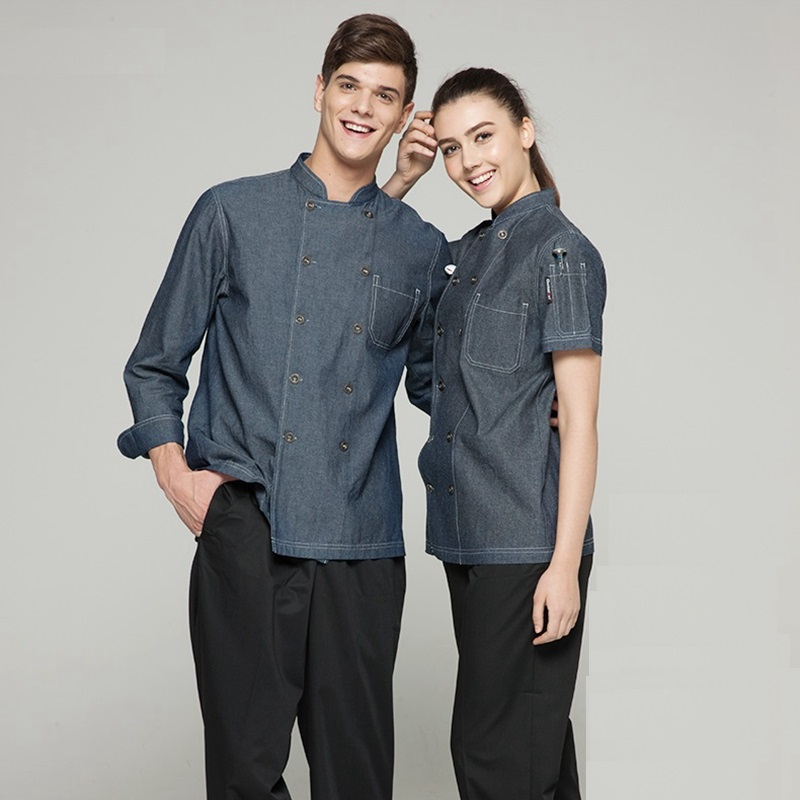 New arrival summer high quality cotton short sleeve grey stand collar french chef jacket denim cook