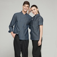 New arrival summer high quality cotton short sleeve grey stand collar french chef jacket denim cook workwear