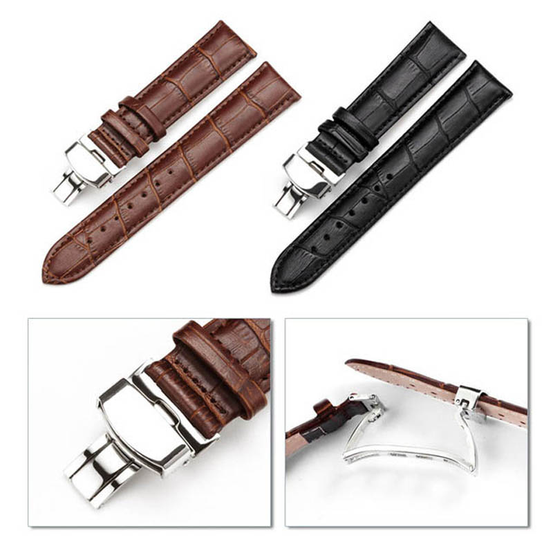 Watch Band Strap Butterfly Pattern Genuine Leather Deployant Buckle Bracelet Brown Black Watchbands 18-24mm стоимость