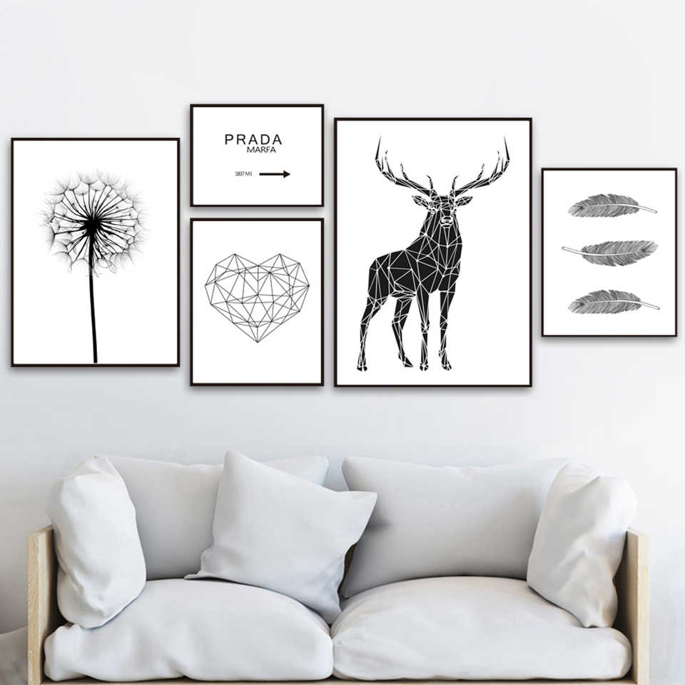 Home Decor Canvas Painting Poster Deer Heart Feather Dandelion Quotes Black White Pictures Wall Art Prints Modular Living Room