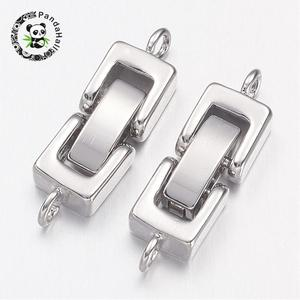 Image 1 - Brass Watch Band Clasps, Fold over Clasps, 1 Hole, Cadmium Free & Nickel Free & Lead Free , Platinum, 24x7x4mm, Hole: 1mm