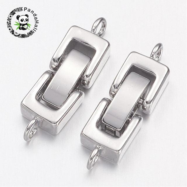 Brass Watch Band Clasps, Fold over Clasps, 1 Hole, Cadmium Free & Nickel Free & Lead Free , Platinum, 24x7x4mm, Hole: 1mm