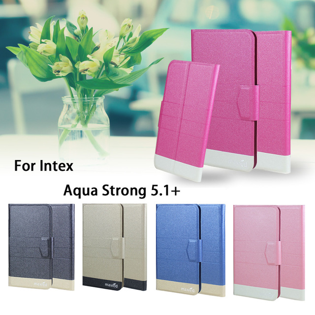 5 Colors Hot! Intex Aqua Strong 5.1+ Case Phone Leather Cover,Factory Direct Luxury Full Flip Stand Leather Phone Shell Cases