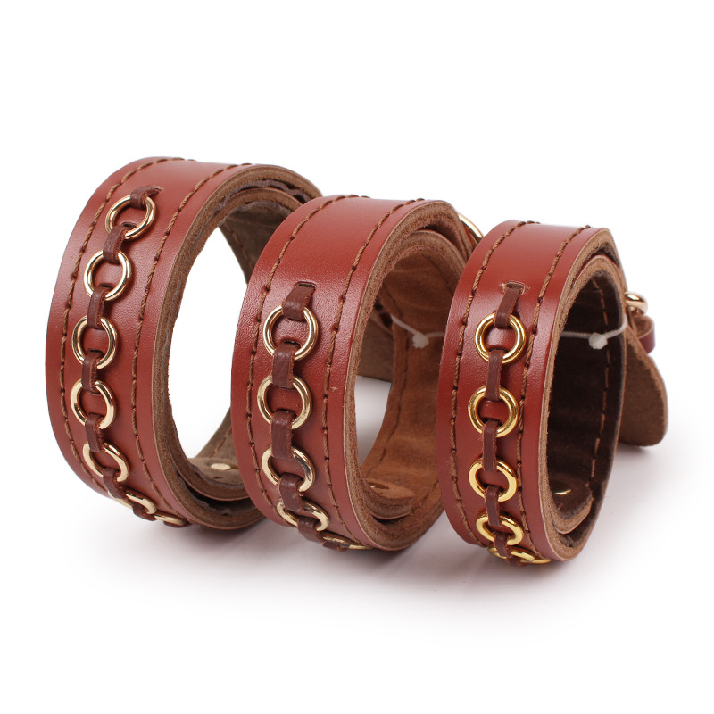 High-end Cow Leather Dog Collar Soft Touch Genuine Leather Braided Pet Dog Collars For Small Medium And Large Bulldog Dogs 20A