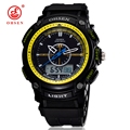 OHSEN Brand Military Army LCD Dual Core Mens Sports Watch Alarm Stopwatch Back Light Rubber Band Wristwatch Swim Watches Relojes