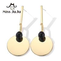 Miss JuJu Imitation stone Long Earrings Geometric Gold Beach Earrings for Women Ear Plated Gold Women's Stone Earrings M3013