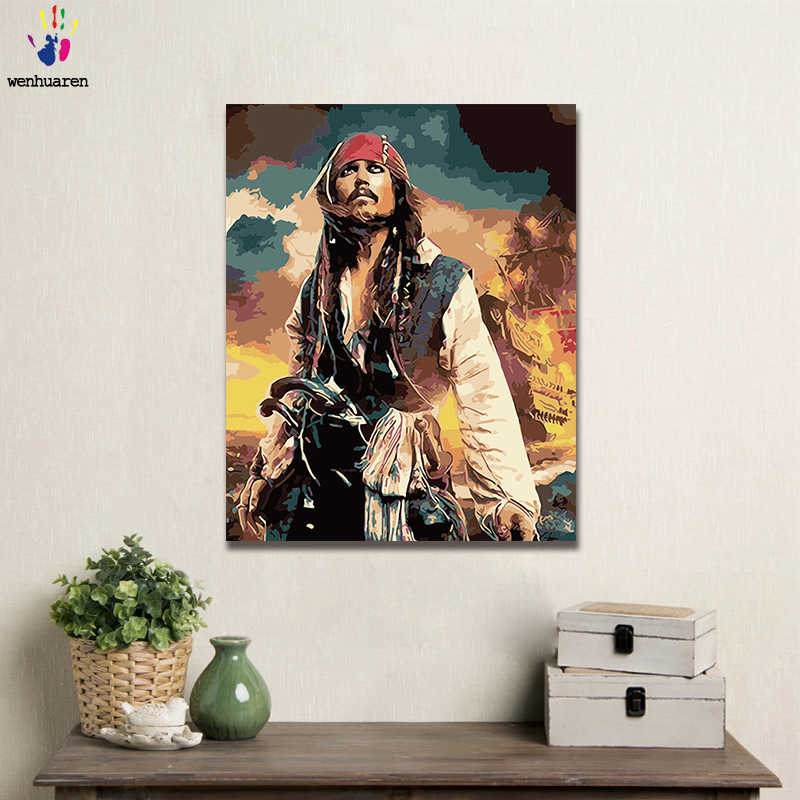 DIY Coloring paint by numbers Movie character captain jack sparrow USES a 40x50 frame