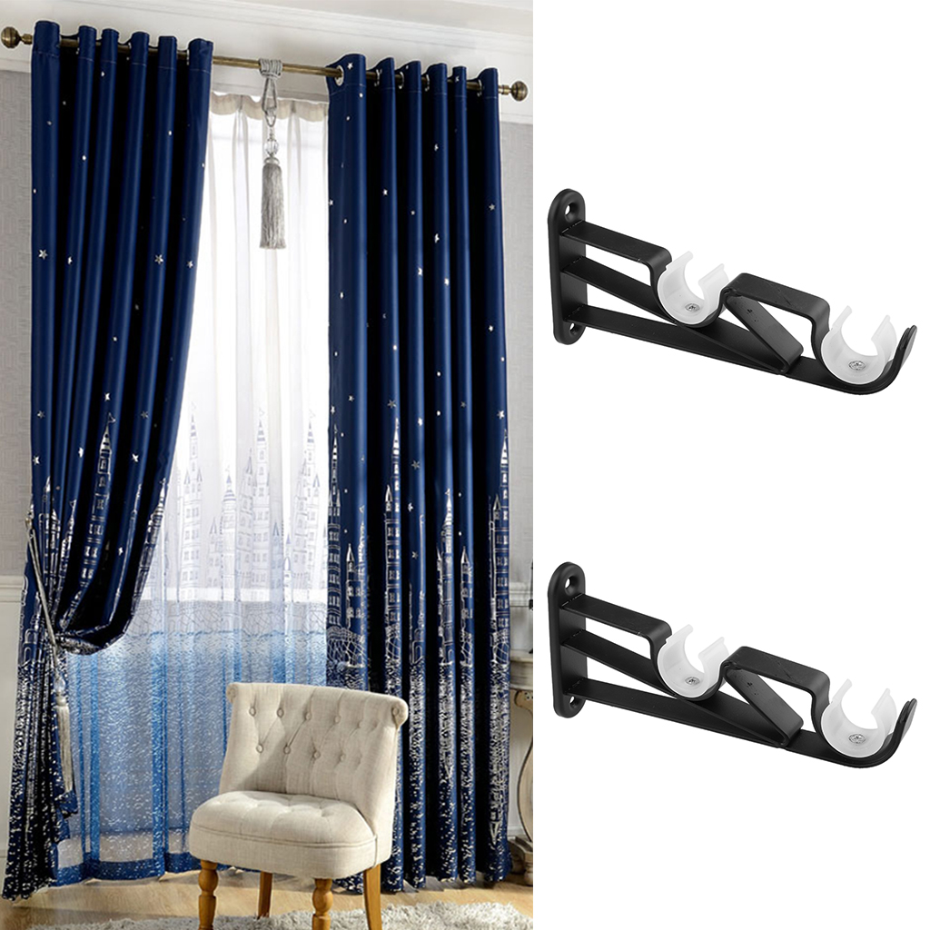 Durable 2pcs Iron Curtain Rod Pole Holder Support Wall Mounted Bracket For Home Living Room