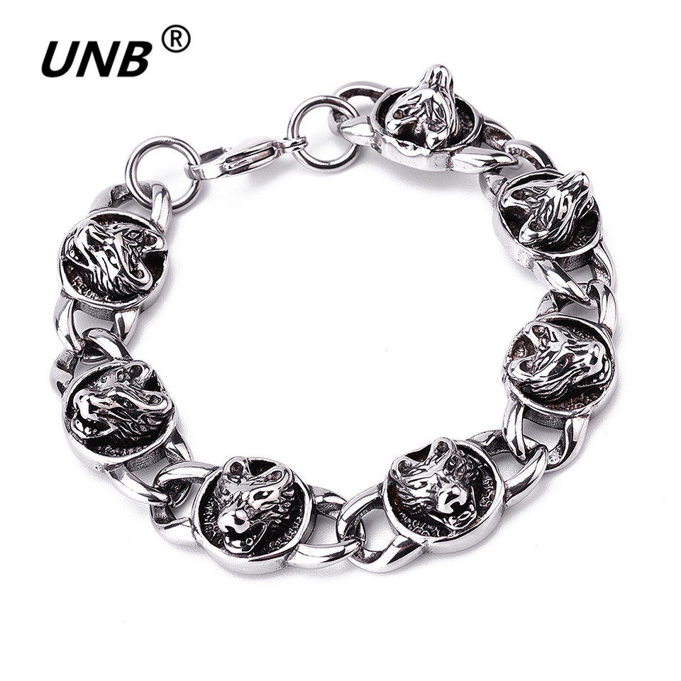 Vintage Mens Chain Wolf Head Bracelet 316L Stainless Steel Mariner Oval Link Silver Big Wolf Head Charm Bracelets for Men Gifts trustylan shiny glossy 316l stainless steel mens bracelets 2018 20mm wide chain bracelets jewellery accessory man bracelet