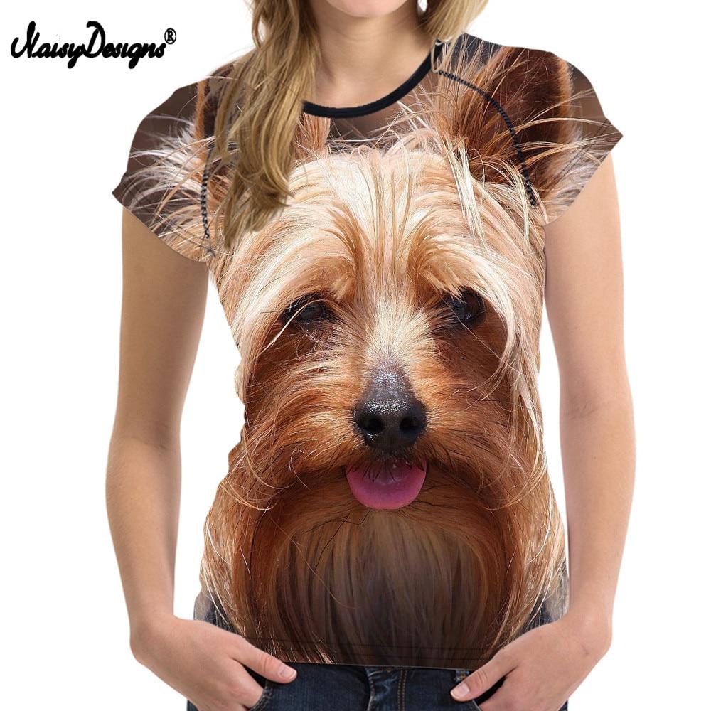 NOISYDESIGNS 3D Yorkshire Terrier t-shirt Women Summer T shirt Casual Young Teens Girls Kawaii Cute tshirt Femme Womens Tops Tee