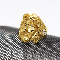 Titanium Steel Jesus Piece Ring Hiphop Rock 18K Gold Plated Men Ring High Quality Fashion Charm