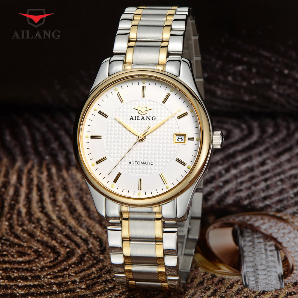 AILANG Men Business Watch Automatic Mechanical Minimalist Wristwatch Stainless Steel Band Shockproof Waterproof Watches A084 ailang men mechanical watch luxury brand waterproof automatic wristwatches men s stainless steel mechanical wristwatch a088