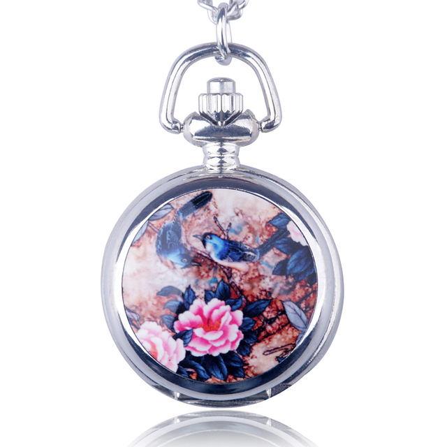 Fashion Small Size Silver Enamel Pocket Watch Bird on the Tree Quartz Pendant Ne