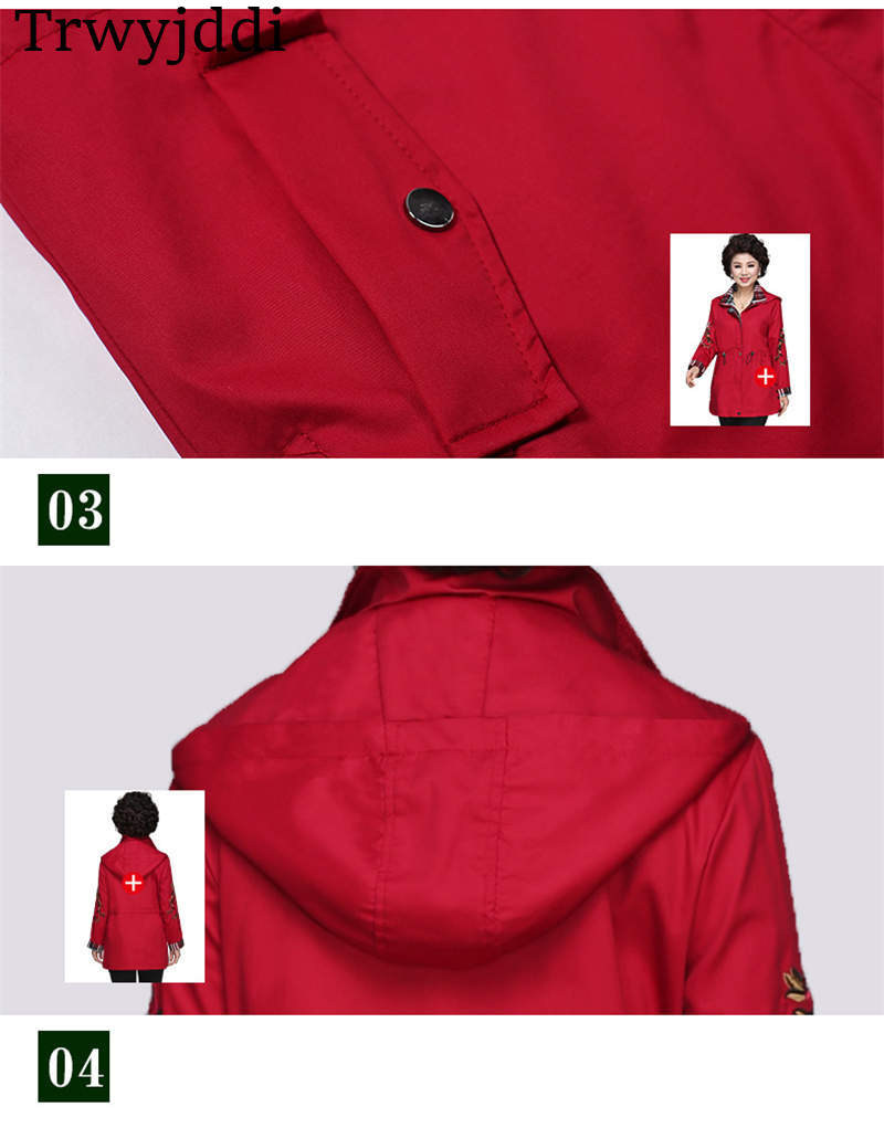 Femme Nouveau N465 De Broderie Trench vent Femmes Femelle Décontracté âge Pour Red Coupe coat Moyen Automne Grande Taille navy Vêtement 2019 Printemps Manteau w4RqRY