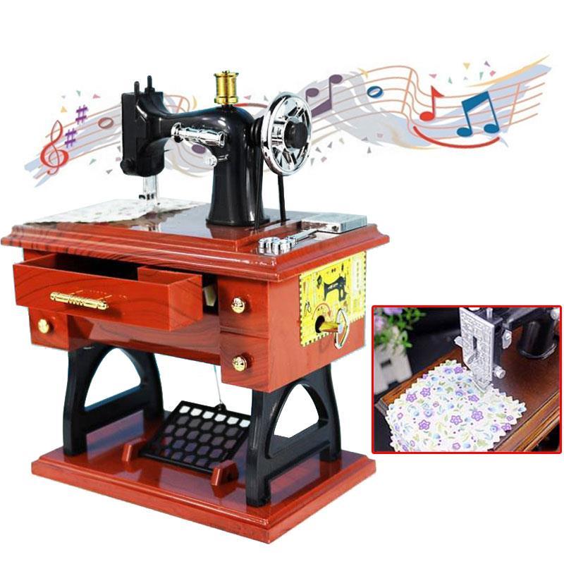 Cajas musicales máquina de coser decoración Vintage reloj estilo creativo antiguo Navidad Año Nuevo cumpleaños regalo de San Valentín Lámpara de pared de cabecera antigua de estilo americano luces de sala de estar de una sola cabeza lámparas de bar de moda vintage