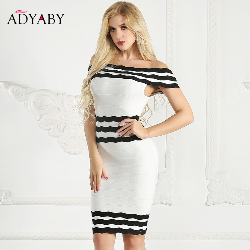 Bodycon Pencil Dress Women Fashion 2019 Summer Off Shoulder Dress Bandage Black And White Striped Sexy