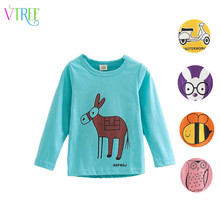 V-TREE New fashion 2016 spring baby girl shirts cartoon boys girls t-shirt long sleeve children t shirts kids shirt girls tops