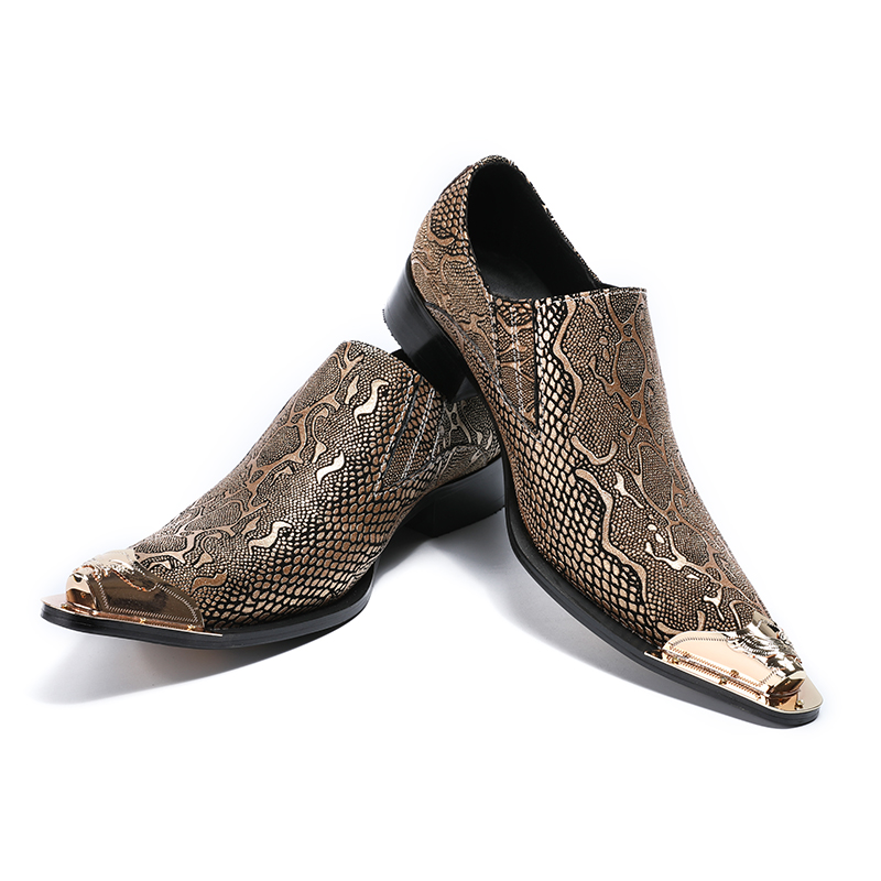 Fashion Genuine Leather Slip On Men Shoes Pointed Metal Toe Dress Shoes Snakeskin Pattern Business Formal Flats For Men Size 46 стоимость