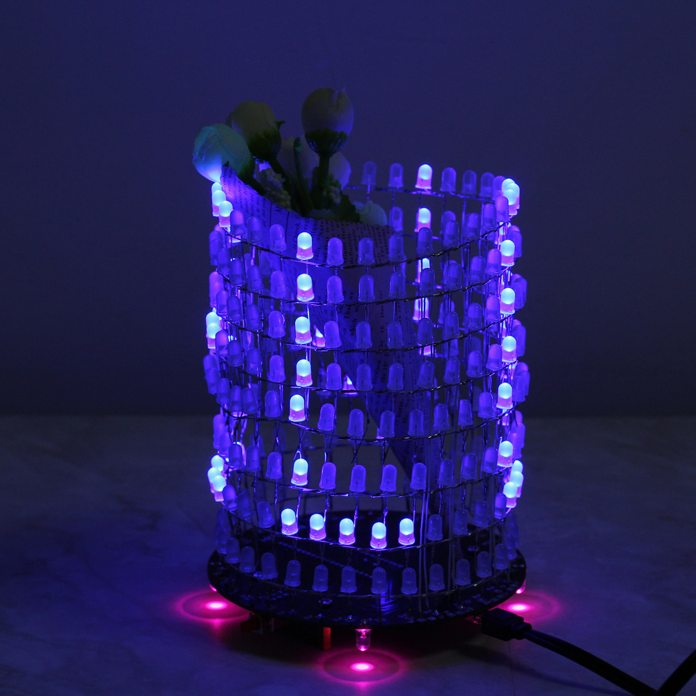 Blue Dream Light Circle 5mm LED DIY Kit Music Spectrum Module 8x32 Dot Matrix for Gift Dot Matrix Electronic Fun LED Light lm358 breathing light parts electronic diy fun making kit led blue flashing kit