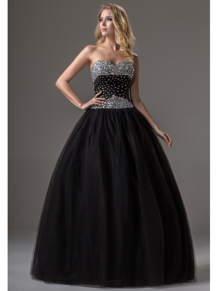 Poofy Black Long Full Length Strapless Sweetheart Beaded Sequins