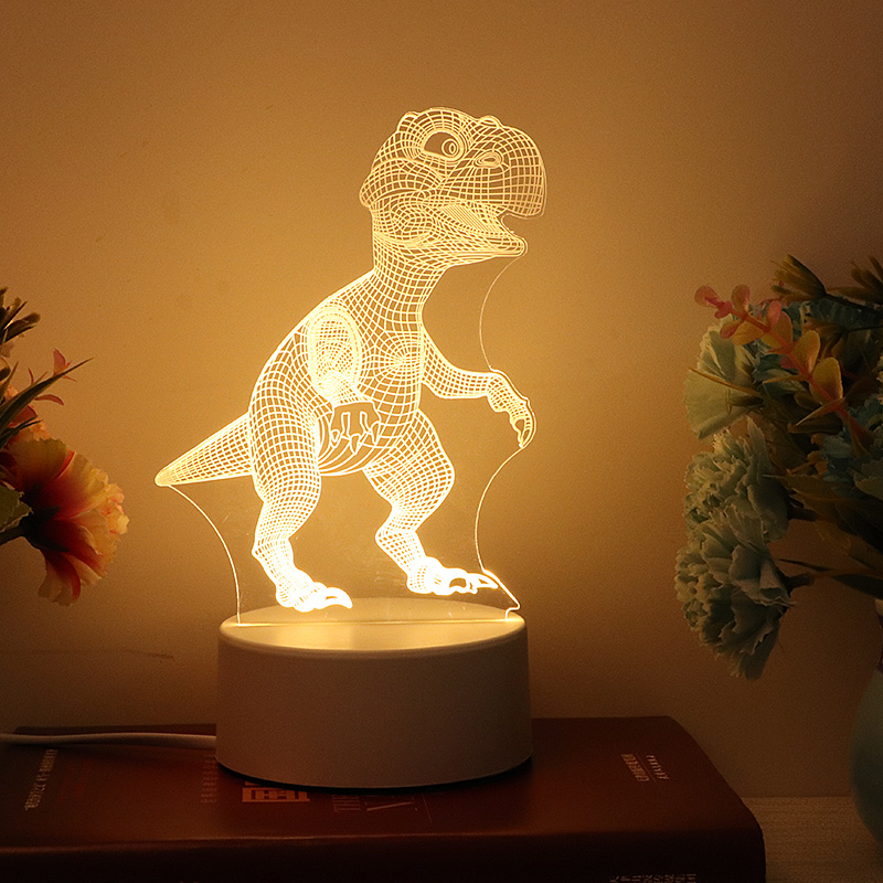3D Dinosaur Night Light LED WarmWhite USB Button Acrylic Optic Lights Decor Nights Lamps Kids Gifts For Baby Child DIY Design