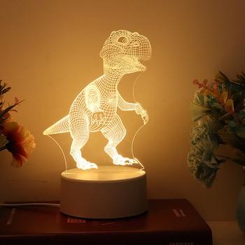 3D Dinosauro luce di Notte LED WarmWhite USB Pulsante Acrilico ottica luci decor Notti lampade per bambini regali per il bambino del bambino FAI DA TE disegno